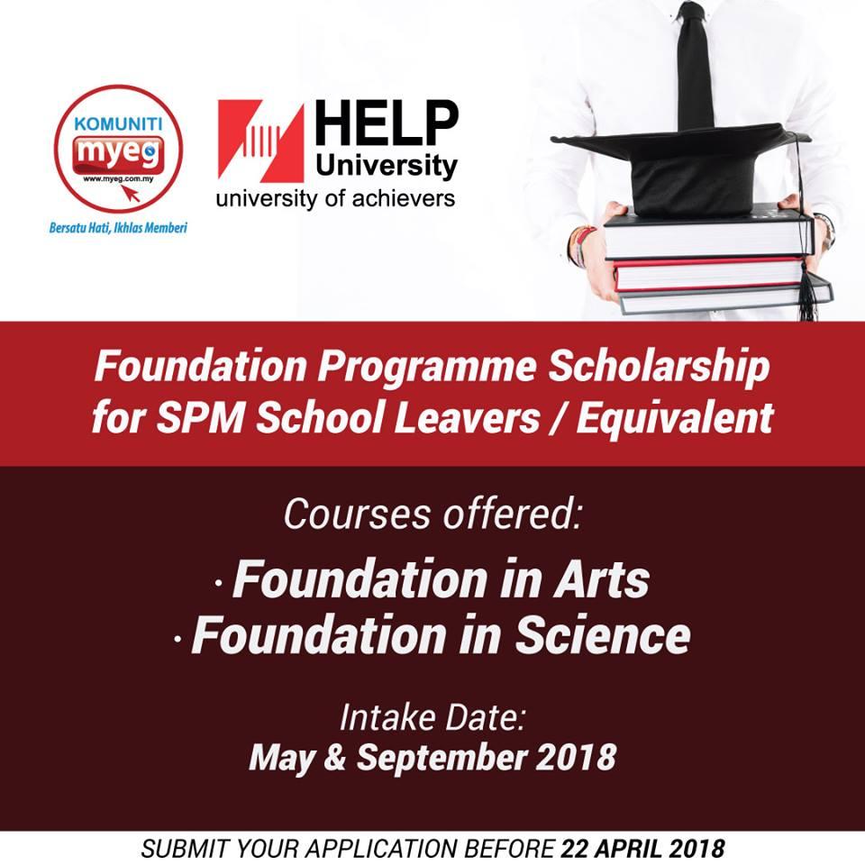 Komuniti Myeg Help University Foundation Programme Scholarship For May 2018 Intake Scholarships Free Spm Tips 2020 By Student Malaysia Education Forum